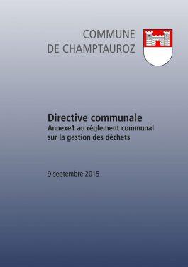 Annexe 1 au règlement communal sur la gestion des déchets, directive communale